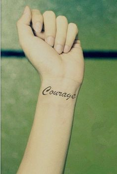 InknArt Temporary Tattoo - 2pcs COURAGE hand writing temporary tattoo wrist neck ankle quote tattoo small tattoo on Etsy, $1.99