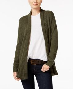 Charter Club Cashmere Ribbed Open-Front Cardigan, Created for Macy's - Tan/Beige XS