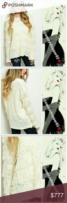 """💋JUST ARRIVED💋Fringed detailed sweater Brand new without tags, Boutique   Comfy and edgy Fringed detailed cream knitted sweater. Pair with your favorite leggings and boots! Material 100% acrylic S/M Bust 21"""" Length 26"""" M/L Bust 23"""" Length 26""""  💖Shop with confidence💖💖 🎉🎊Suggested User🎊🎉 📮💌Same day shipping📮💌 5🌟🌟🌟🌟🌟 star rated closet 👍👍Top seller👍👍 Sweaters Crew & Scoop Necks"""