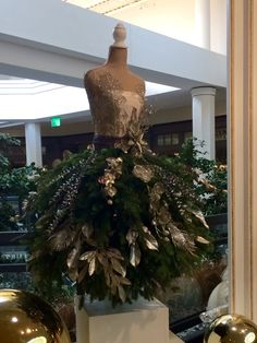 Christmas tree gowns on display at the Galleria Shopping Center