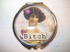 Compact Mirror with Vintage Sarcastic Woman by RubysNeedfulGifts on Etsy.