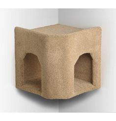 Kitty Corner Wall Mounted Hideaway - fits idea of catwalk (with tunnels?) over living room window, end up at a corner hideaway where the catwalk arrives at the top (so they could nest atop), then little side step to let them get to lower level, then below that would be table or desk with lamp, computer on it and cat bed in back corner.