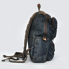Distressed denim school rucksack backpack womens - Thumbnail 2