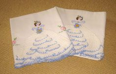 Vintage Pair Embroidered and Crocheted Lady Pillow Cases NOS from chelseaantiques on Ruby Lane