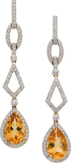 Citrine, Diamond, and Gold Earrings, Eli Frei