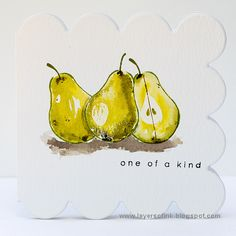 Layers of ink - Pear Artsy Fruit Watercolor Card Tutorial by Anna-Karin. Made for the Simon Says Stamp One of a Kind release blog hop.