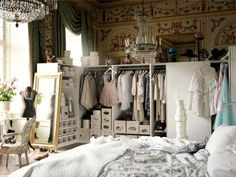 two things I'm jealous of gorgeous closet and i want a chandelier in my bedroom