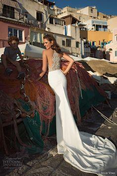 julie vino fall 2017 bridal strapless deep plunging sweetheart neckline heavily embellished bodice elegant trumpet wedding dress halter back chapel train (1215a) bv