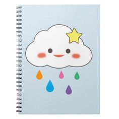 Happy Cloud & Rainbow Droplets Notebook - fun gifts funny diy customize personal