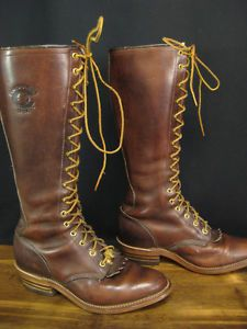 Vintage-Chippewa-Brown-Tall-Lace-Leather-Knee-High-Roper-Boots-Size-7-5-EE