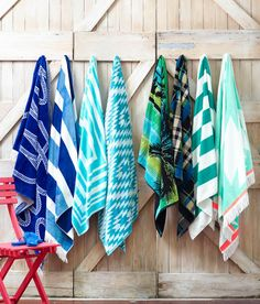 Feature wall by the pool to hang towels to dry