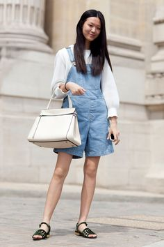 #TianYi rocking Theyskens' Theory with her overalls #offduty in Paris.