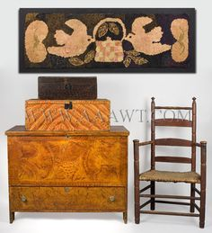 grain painted blanket chests, hooked rug & early arm chair