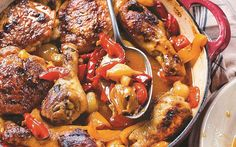 From Gennaro's Slow Cook Italian, written by the star of Two Greedy Italians,   this pollo ubriaco con pepperoni is simple to make and the ideal family feast