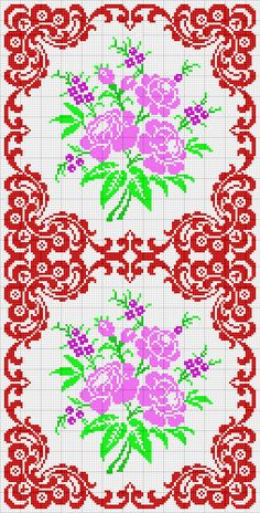 Cross Stitch Love, Cross Stitch Borders, Cross Stitch Flowers, Cross Stitch Charts, Cross Stitch Designs, Cross Stitching, Cross Stitch Patterns, Tapestry Crochet, Red Pattern