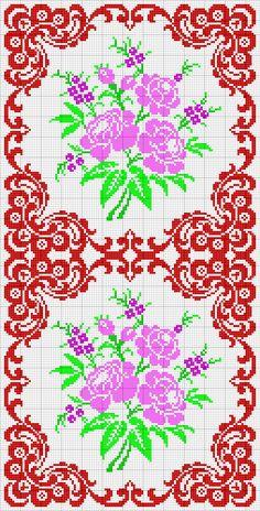 Cross Stitch Love, Cross Stitch Borders, Cross Stitch Flowers, Cross Stitch Charts, Cross Stitch Designs, Cross Stitching, Cross Stitch Patterns, Doily Patterns, Craft Patterns