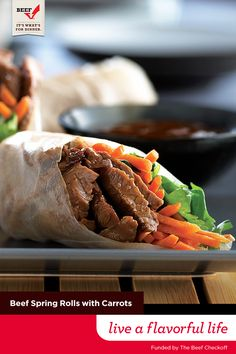 Create a nutritious summertime meal for your family. Use your favorite grilled steak (try Top Sirloin, Top Round, or Flank Steak) with cilantro and shredded carrots wrapped in a deliciously light rice paper wrap. Funded By The Beef Checkoff
