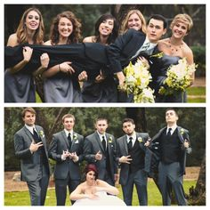 Groom with bridesmaids & bride with groomsmen || Photo by Peter Lopez