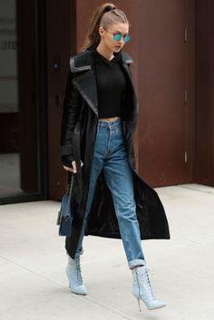 Gigi Hadid wearing Manolo Blahnik Dancehall Cowgirl Heel Boot, Tom Ford Natalia Large New Denim Bag