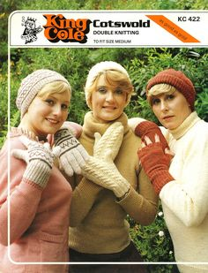 Vintage Ladies Gloves, Mitts and Hats in Three Styles, Knitting Pattern, 1960 (PDF) Pattern, King Cole 422 by LittleJohn2003 on Etsy