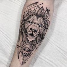King Tattoos, Baby Tattoos, New Tattoos, Tatoos, Tattoo Images, Tattoo Photos, Tattoo Mania, Cubs Tattoo, Geometric Lion Tattoo