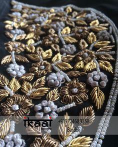 No automatic alt text available. Zardosi Embroidery, Couture Embroidery, Embroidery Fashion, Beaded Embroidery, Indian Embroidery, Hand Embroidery Design Patterns, Hand Work Embroidery, Embroidery Suits, Fancy Blouse Designs