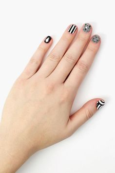 nails in black and white