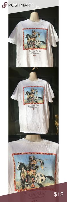 "✨ Awesome Vintage Native American Chief T-shirt - Awesome vintage Native American Dakota chief t- shirt  - Super cool vintage tee from the 90s with a Native American design and Aztec pattern  - Shirt says ""Dakota Chief Charles Marion Russell""  - Long shirt, perfect for leggings and a sweater  - Color: White with colorful pattern  - Brand: Vintage  - Size: L ( true to size or size down for oversized)  *20% off 2+ * Make me an offer!! Vintage Tops Tees - Short Sleeve"