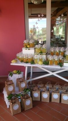 Allestimento bomboniere matrimonio tema limoni