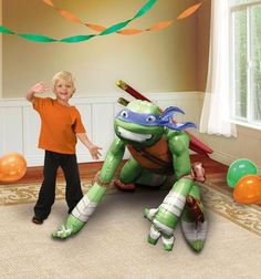 "Leonardo is ready to pounce with this Teenage Mutant Ninja Turtles Leonardo AirWalker Foil Balloon! The balloon will seem to """"walk"""" when filled with helium. Includes 1 foil balloon that measures app"