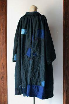 Indigo linen patchwork smock/France by SASAKIYOHINTEN on Etsy