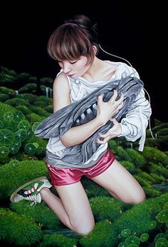 Artist: Moki Mioke, acrylic on canvas {contemporary fantasy surrealist female kneeling with giant insect cropped painting} mioke.de