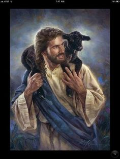 Jesus with a lamb on His shoulders!