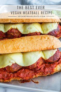The Best Ever Vegan Meatballs – Vegan Travel Eats Vegan Parmesan Cheese, Vegan Mozzarella, Healthy Junk Food, Vegan Food, Vegan Dishes, Italian Recipes, Vegan Recipes, Easy Recipes, Vegan Fries