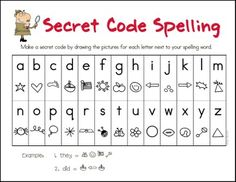 secret code spelling, could be used for sight words! fun