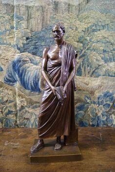 Bronze Philosopher By Barbedienne, L'aigle Impériale, Proantic