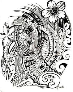 Coloriage adulte Tatouages : Tatouage polynésien