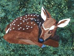 silver linings quilting pattern wee fawn - We have three deer in our garden - a mum and two babies.