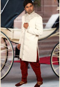 Buy White Brocade Readymade Sherwani 204352 online at lowest price from our mens wear collection at Indianclothstore.com. Wedding Sherwani, How To Dye Fabric, Color Shades, Lehenga Choli, Lace Skirt, Fur Coat, Menswear, Indian, Silk