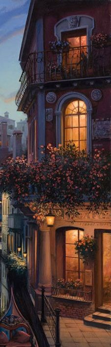 """Golden lights in beautiful night windows, so inviting, so intriguing. (Detail from """"Placidity"""" by Eugene Lushpin)"""