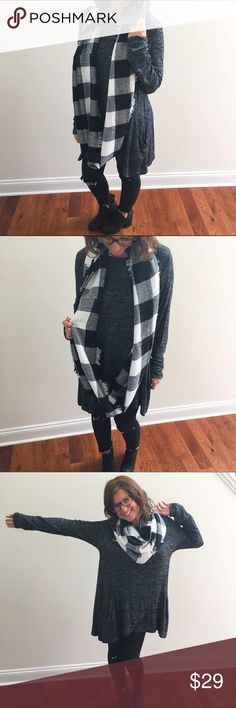 Black & White Plaid Infinity Scarf Black & White Plaid infinity fringe scarf. Super soft & lightweight but offering plenty of warmth. Can be worn multiple ways as pictured). No trades. Price firm unless bundled. Accessories Scarves & Wraps