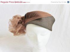 40 Off Sale Vintage 50's Brown Hat Straw by perniejaynevintage, $24.00