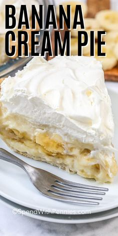 This easy banana cream pie is a family favorite. Made entirely from scratch this old fashioned pie starts with a homemade pie crust. Then layer in the creamy custard filling and sliced bananas. Don't forget to top with a mound of whipped cream and serve chilled. This is on classic your family is sure to rave about! #spendwithpennies #banancreampie #dessert #homemadepie #creampie #oldfashionedpie #fromscratch