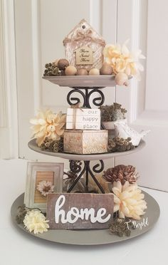 Late Spring/Summer Tiered tray - Diy tier tray with several Dollar tree decor diys The Effective Pictures We Offer You About diy pro - Dollar Tree Decor, Dollar Tree Crafts, Dollar Tree Centerpieces, Summer Diy, Spring Summer, Dollar Tree Christmas, Diy Bathroom Decor, Small Bathroom, Tray Decor