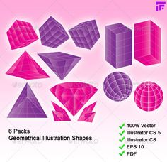 6 Packs 3D-like Geometrical Shapes  #GraphicRiver         A pack of 6 very useful geometrical shapes. Can be used as logo elements, pattern, graphic, decoration, and many more.   100% made in vector. Very easy to edit, change color, variation, delete components and many more.   EPS 10, Illustrator CS 5, CS3, PDF file ready     Created: 3June13 GraphicsFilesIncluded: VectorEPS #AIIllustrator Layered: Yes MinimumAdobeCSVersion: CS Tags: 3d-like #anycolor #ball #block #cube #diamond…