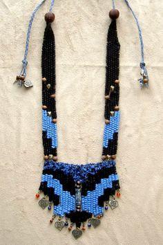 """Denim"" - 2008 - Adjustable Lentgh, Brass Beads and Fimo Bead Centerpiece, SOLD.  Hand woven, handwoven, weaving, weave, needleweaving, pin weaving, woven necklace, fashion necklace, wearable art, fashion necklace, fiber art."