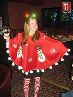 tacky christmas costumes Tis the season for tacky holiday sweaters Ugly Christmas Tree, Tacky Christmas Party, Diy Ugly Christmas Sweater, Ugly Sweater Party, Noel Christmas, Holiday Sweaters, Tacky Christmas Outfit, Diy Christmas Costumes, Tacky Sweaters