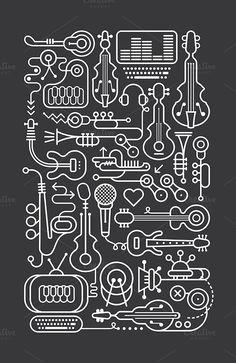Music Shop Art Line by dan on @creativemarket