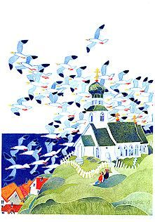 Orthodox church in Alaska print of Kittiwakes- Rie Munoz