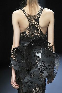 As Good As Knit Gets amazing couture fashion crochet and knit black evening dress design